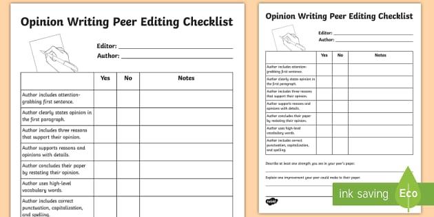 Peer Editing Checklist Opinion Writing Teacher Made