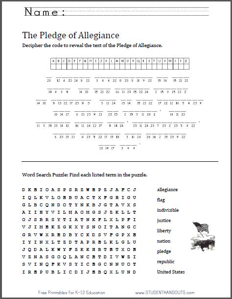 Pledge Of Allegiance Puzzles Worksheet