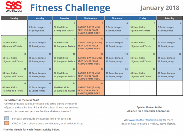 Printable Fitness Challenge Calendar For Kids