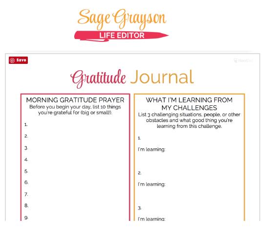 Printable Gratitude Journal