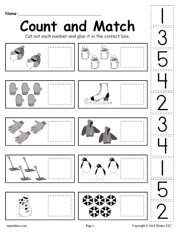 Printable Winter Counting And Matching Cut Paste Worksheet Glue