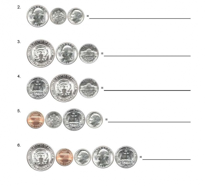 Questions American Usa Coins Adding Up Worksheets