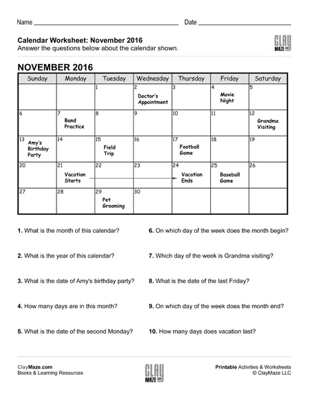 Reading A Calendar Worksheet  A  Childrens Educational Workbooks