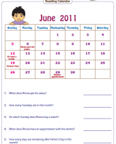 reading calendar worksheets with word problems 8