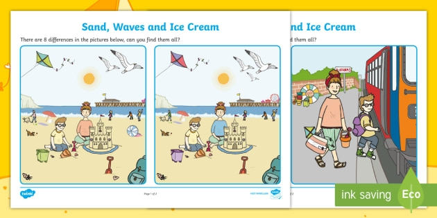Sand  Waves And Ice Cream Spot The Difference Worksheet  Worksheet