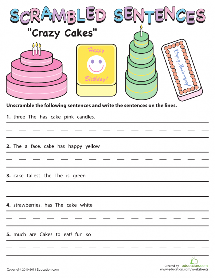 Scrambled Sentences Crazy Cakes