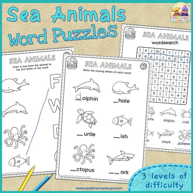 Sea Animals Worksheets And Word Puzzles