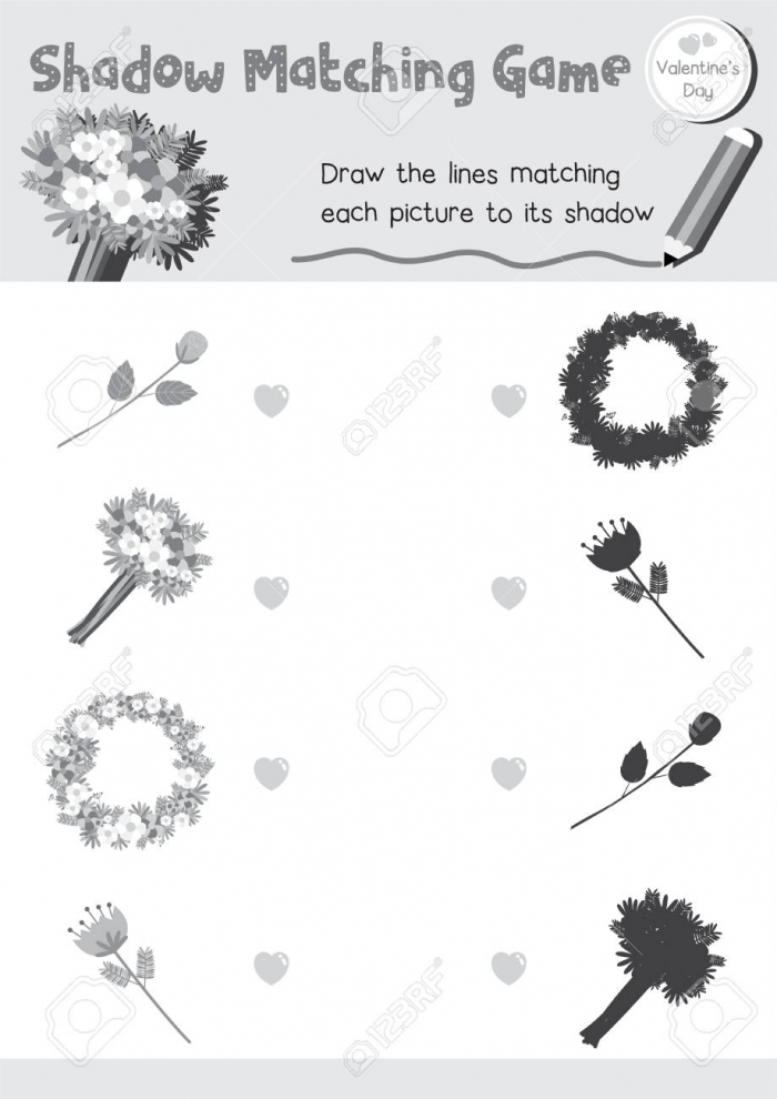 Shadow Matching Game Of Flowers For Preschool Kids Activity