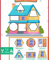 shape matching game worksheet learn shapes stock vector royalty 9 1