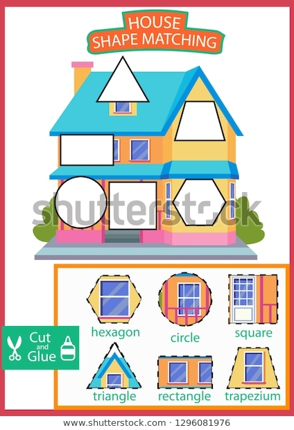 Shape Matching Game Worksheet Learn Shapes Stock Vector Royalty