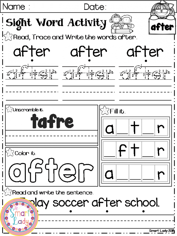Sight Word Activity First Grade Inside You Will Find  Sight Word