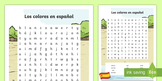 Spanish Colors Word Search Teacher Made