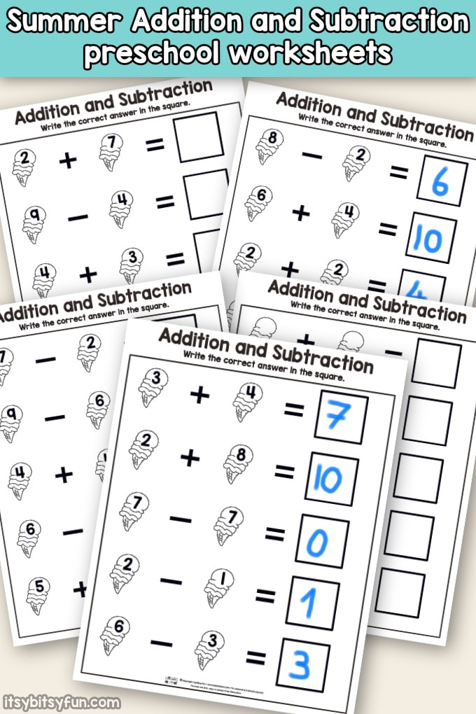 Summer Addition And Subtraction Worksheets