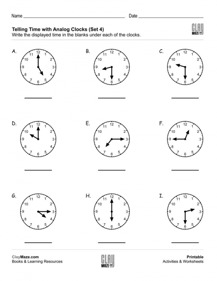 Telling Time  Read The Analog Clocks Set