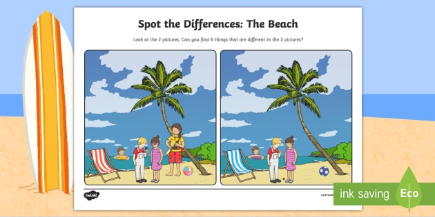 The Beach Spot The Differences Worksheet  Worksheet