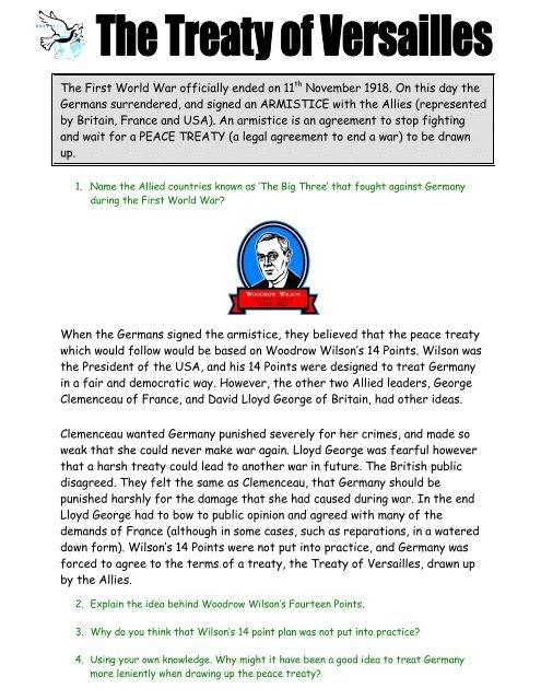 The Treaty Of Versailles Worksheet