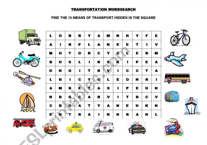 Transportation Wordsearch