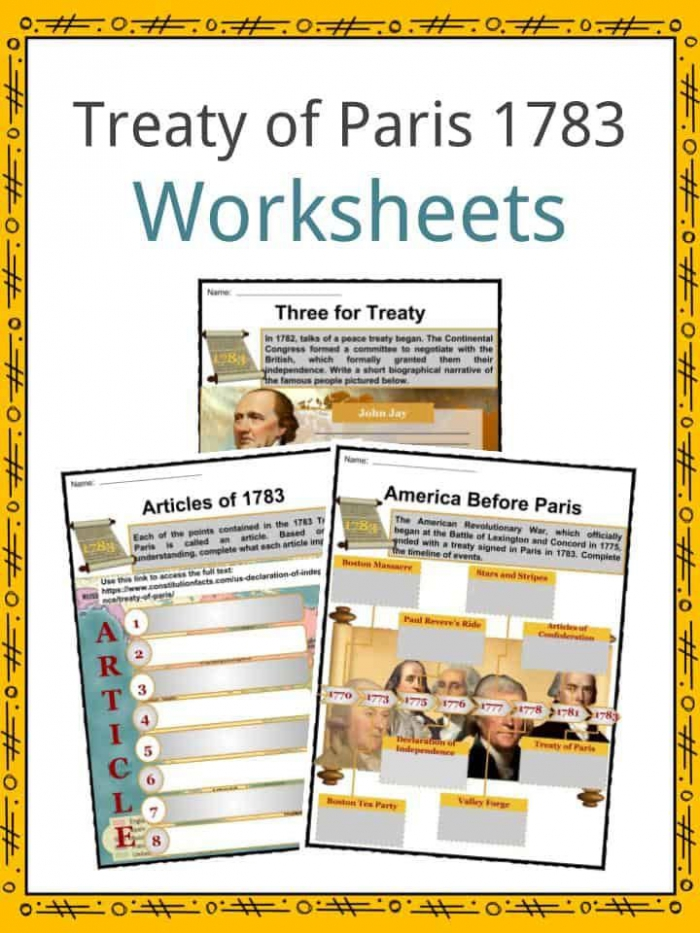 Treaty Of Paris  Facts  Worksheets  Significance   Outcome For