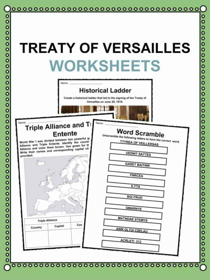 Treaty Of Versailles Facts  Worksheets   World History For Kids