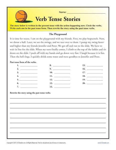 Verb Tense Story Worksheet