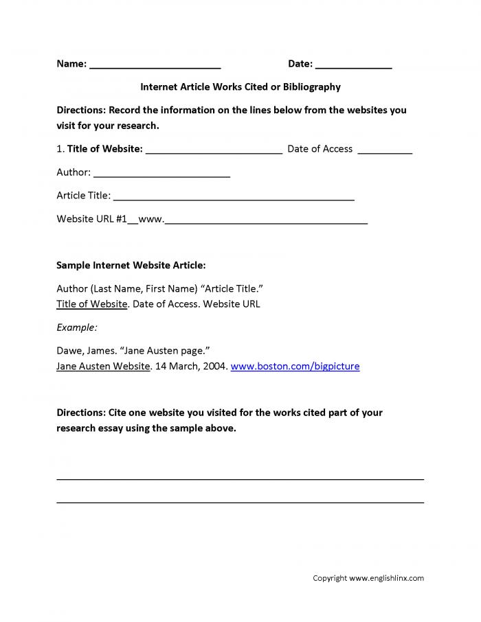Works Cited Worksheets