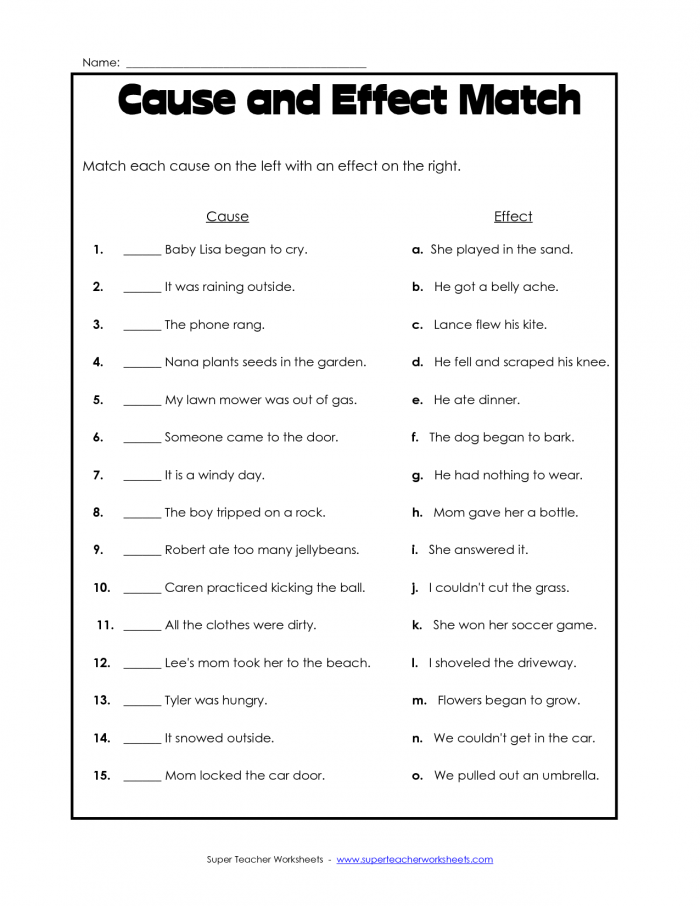 Worksheet Third Grade Comprehension Worksheets Cause And Effect