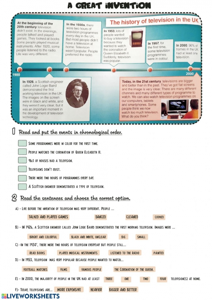 A Great Invention The History Of Television In Uk Worksheet