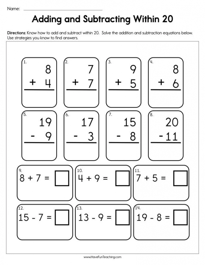 Adding And Subtracting Within  Worksheet In