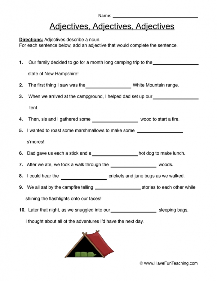 Adjectives Fill In The Blank Worksheet  Have Fun Teaching