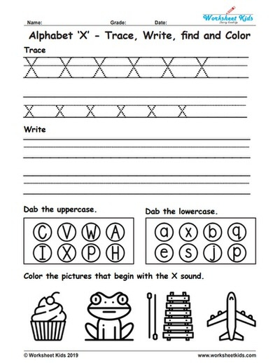 Alphabet Letter X Trace Write Find Color