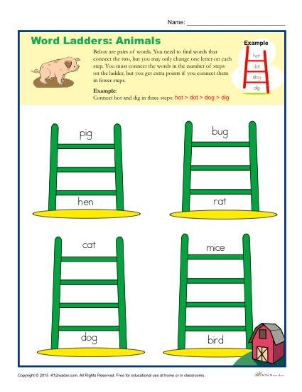 Animals Word Ladders Worksheet For Nd  Rd And Th Grade
