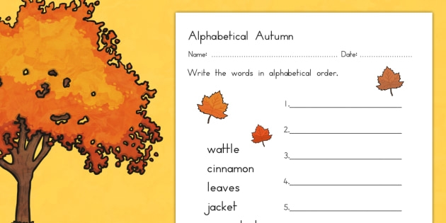Autumn Alphabet Ordering Worksheet Teacher Made