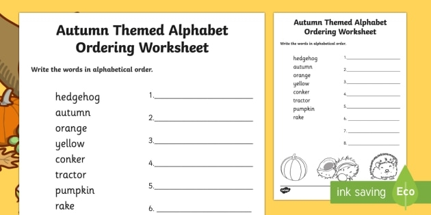 Autumn Themed Alphabet Ordering Worksheet Teacher Made