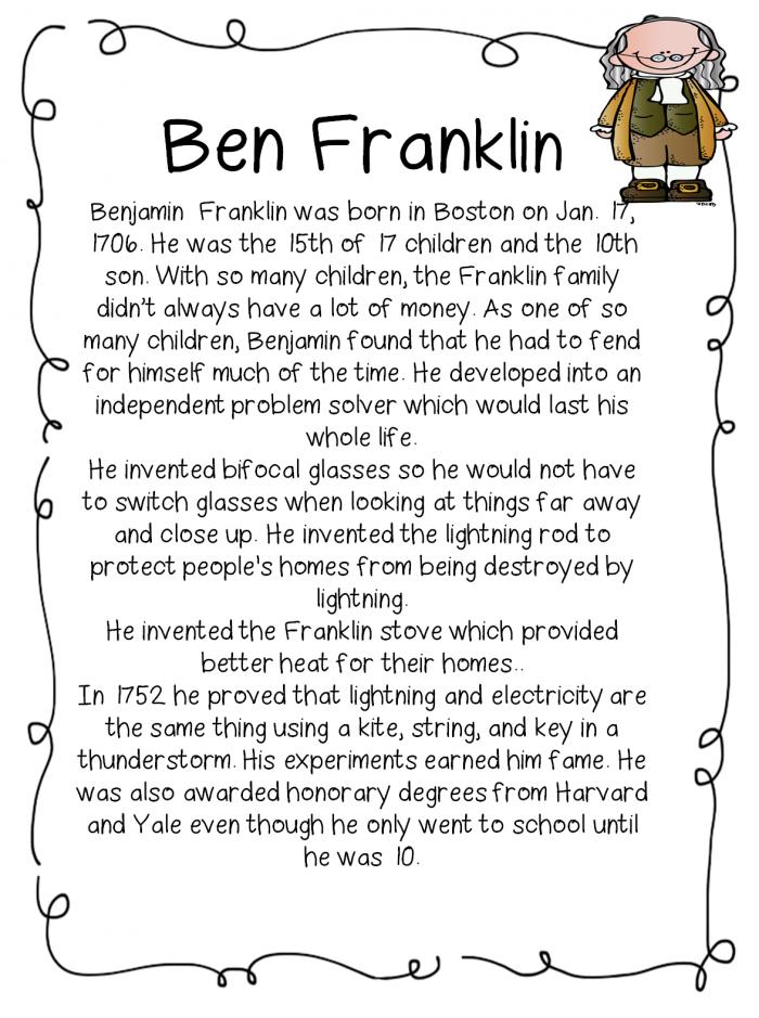 Ben Franklin Worksheet
