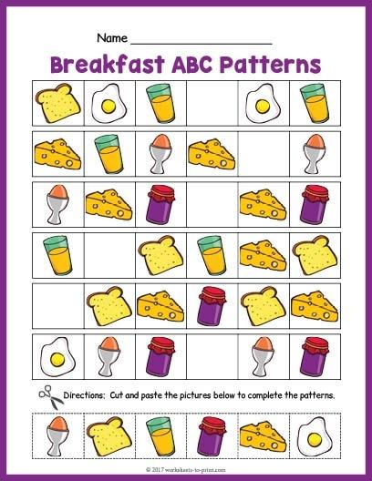 Breakfast Abc Pattern Worksheet