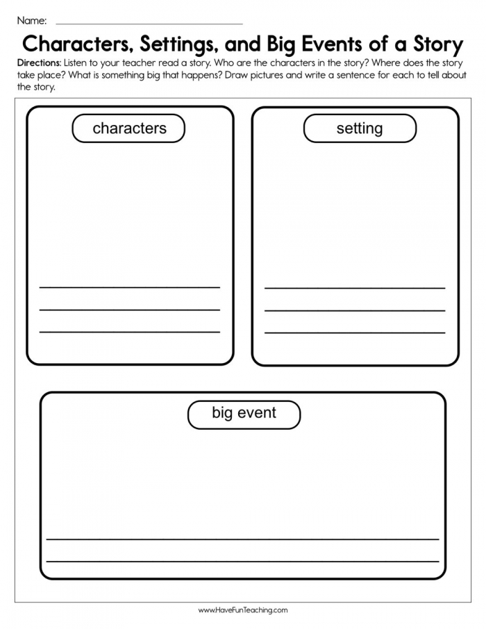 Characters  Settings  And Big Events Worksheet  Have Fun Teaching