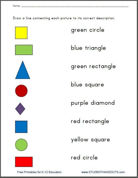 Colors And Shapes Printable Matching Quiz Worksheets For