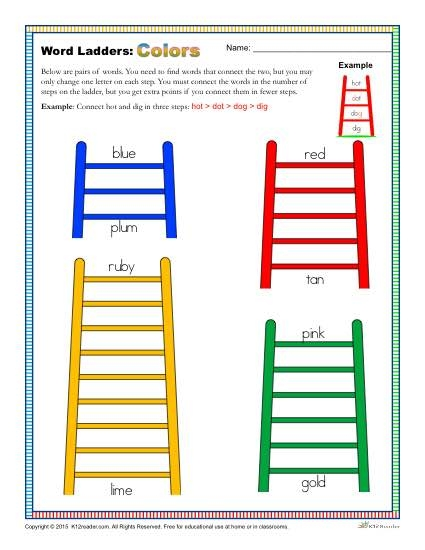 Colors Word Ladders Worksheet For Nd  Rd And Th Grade