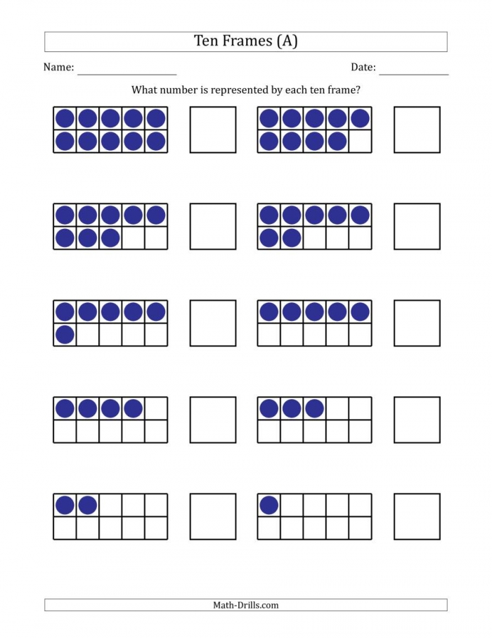 Completed Ten Frames With The Numbers In Reverse Order A