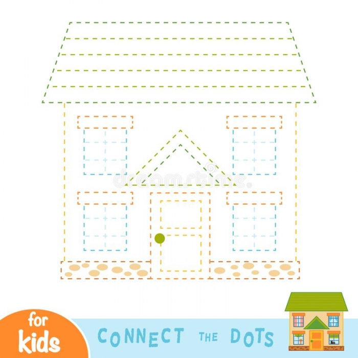 Connect Dots House Stock Illustrations   Connect Dots House