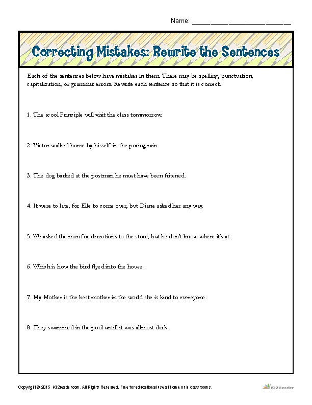 Correcting Mistakes Rewrite The Sentences