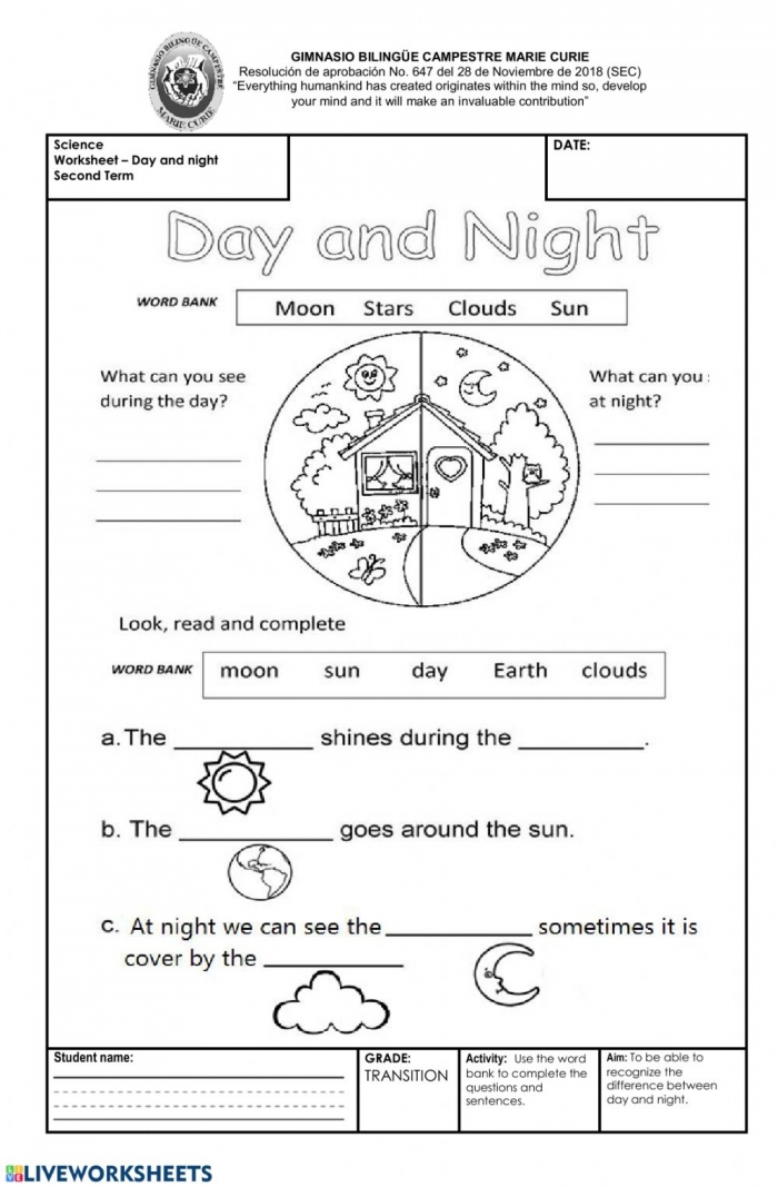 Day And Night Interactive Worksheet