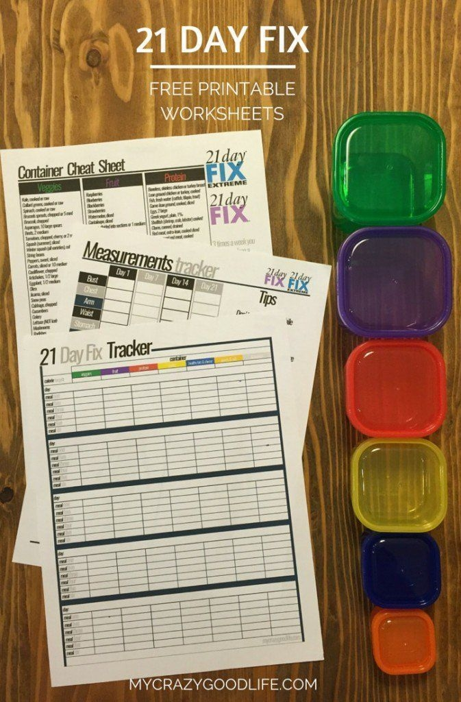 Day Fix Printable Worksheets