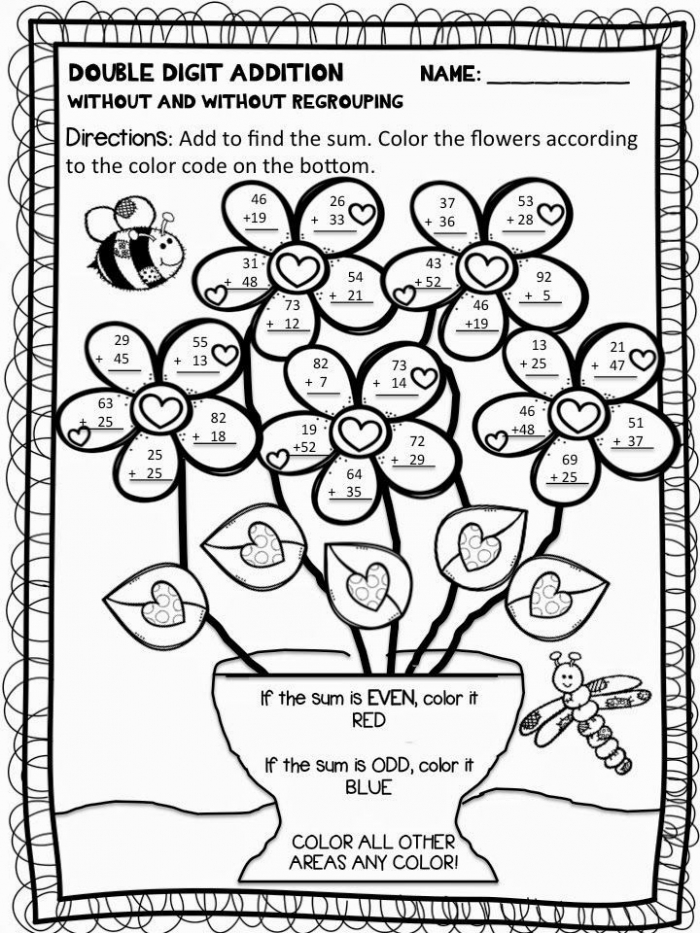 Digit Addition And Subtraction Coloring Worksheets