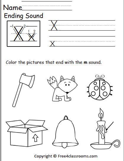 Ending Sounds X Worksheets