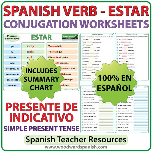 Estar  Spanish Verb Conjugation Worksheets  Present Tense
