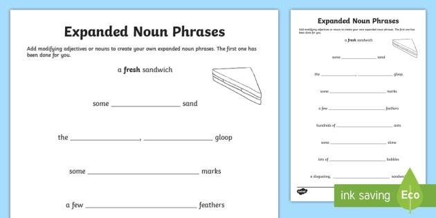 Expanded Noun Phrase Worksheet To Support The Teaching Of The