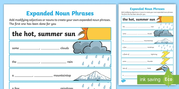 Expanded Noun Phrases Worksheet To Support The Teaching Of Lila