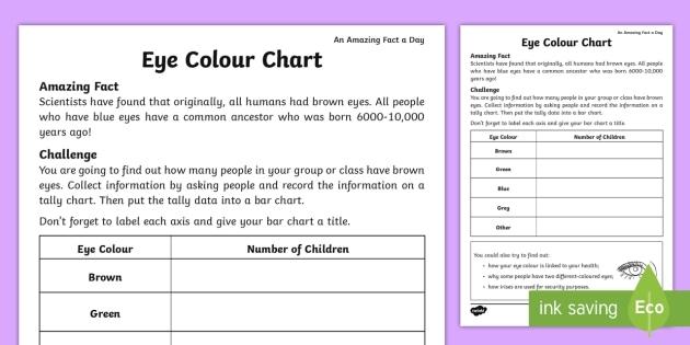 Eye Color Chart Worksheet  Worksheet Teacher Made