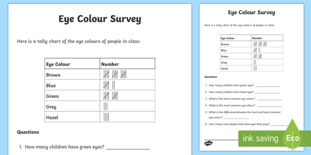 Eye Color Tally Frequency Table Worksheet  Worksheet